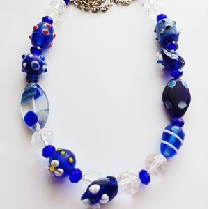 0158. Blue & Clear Glass Necklace